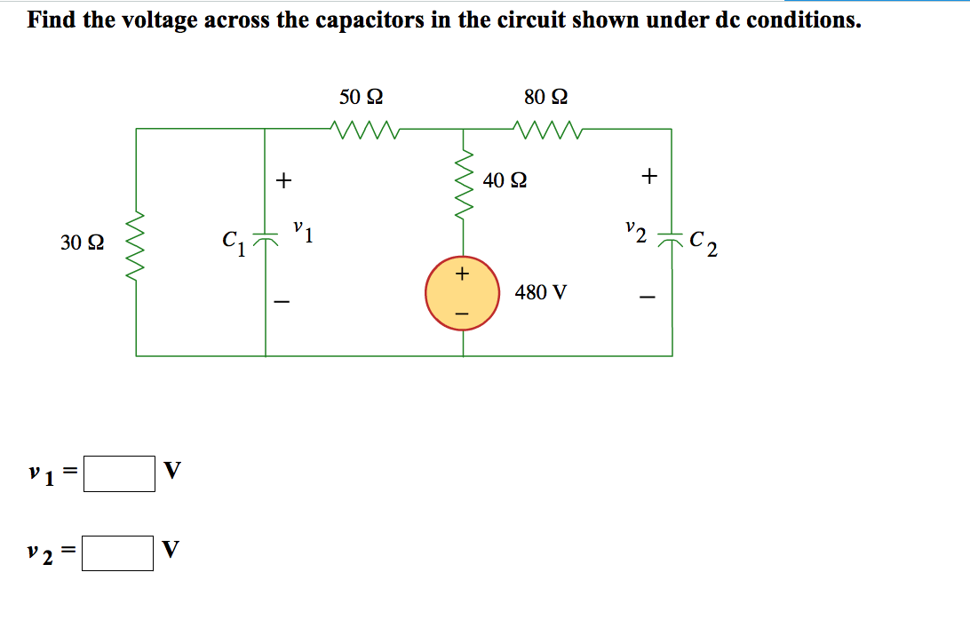 Solved: Find The Voltage Across The Capacitors In The Circ