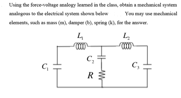 Solved: Using The Force-voltage Analogy Learned In The Cla