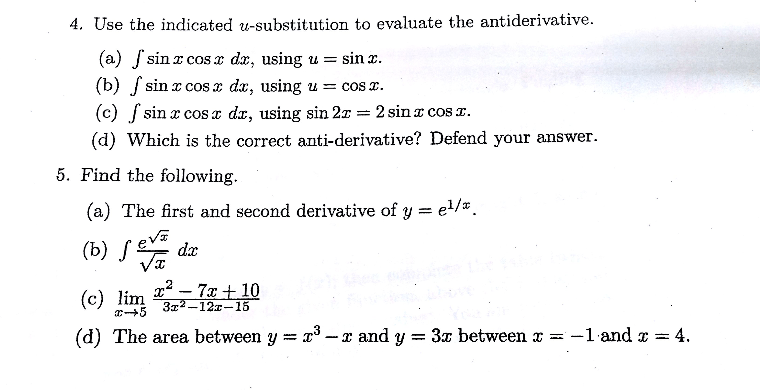 Solved 4 Use The Indicated U Substitution To Evaluate Th