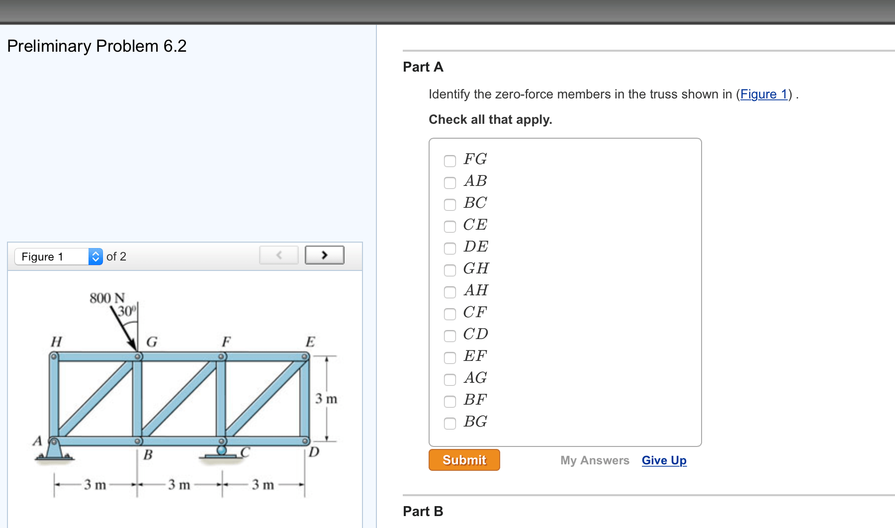 Solved: Identify The Zero-force Members In The Truss Shown