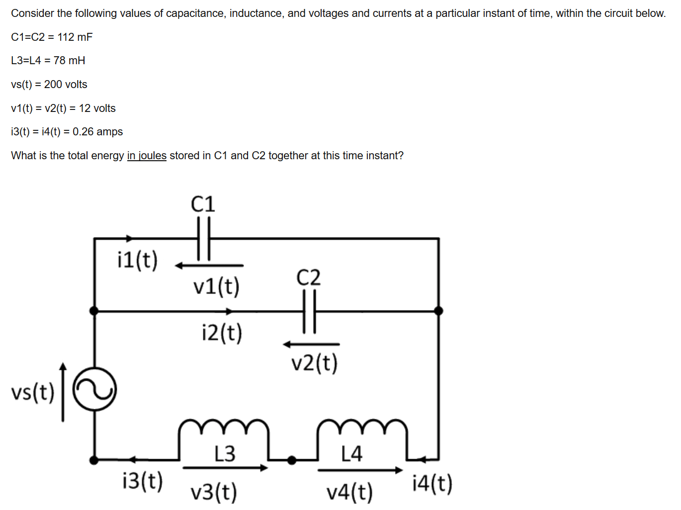 Consider The Following Values Of Capacitance, Indu
