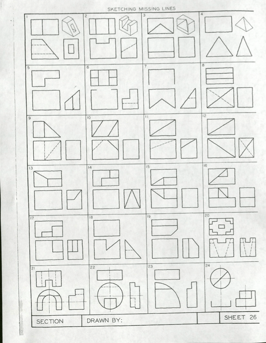 Solved: SECTION SKETCHING MISSING LINES 22 DRAWN BY: SHEET