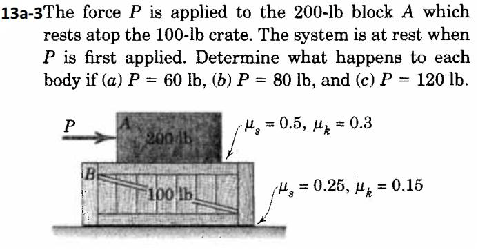 Solved: The Force P Is Applied To The 200-lb Block A Which