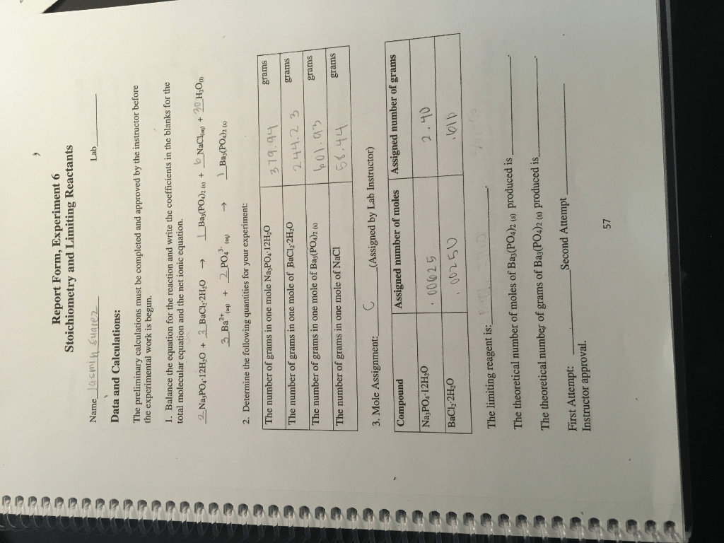 Solved Report Form Experiment 6 Stoichiometry And Limiti