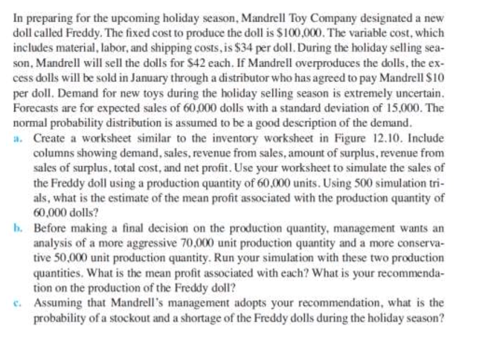 Solved Mandrell Toy Company In Preparing For The Upcoming