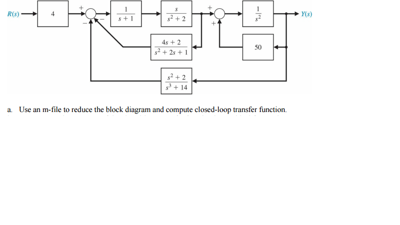 Solved: Use An M-file To Reduce The Block Diagram And Comp