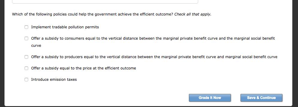 Solved: 4. Efficiency In The Presence Of Externalities Air
