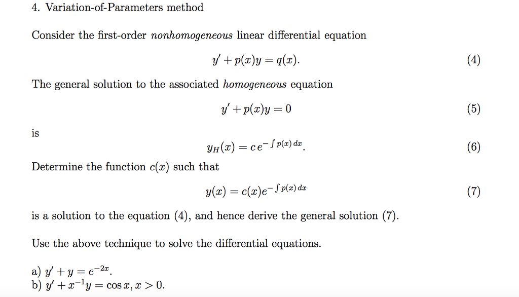 Solved: Variation-of-Parameters Method Consider The First