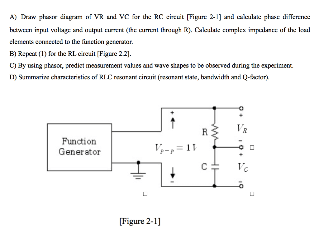 phasor diagram of rl circuit wiring diagrams for relay lighting solved a draw vr and vc the rc cir