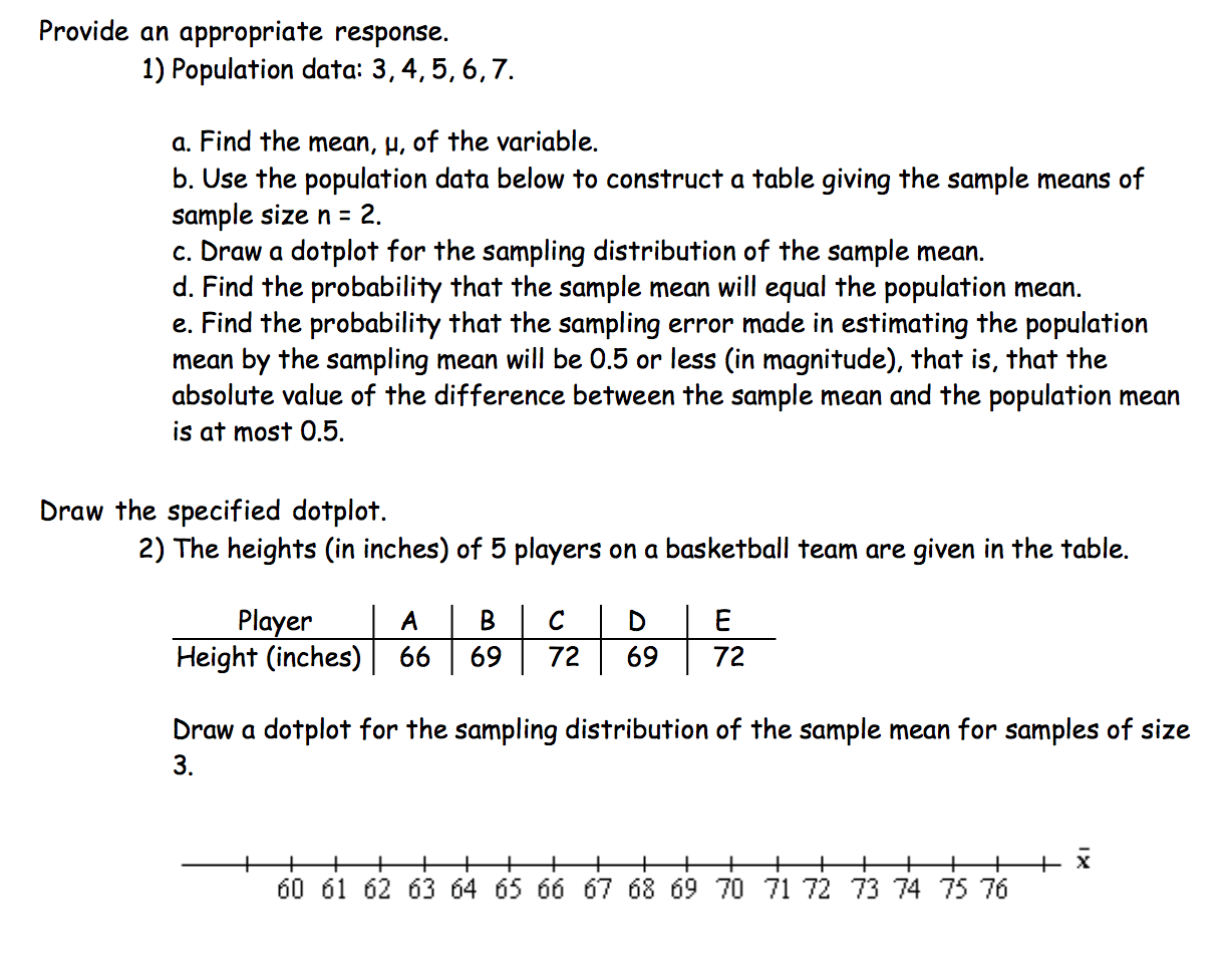 Solved Use The Data Below To Find The Mean Dot Plot And