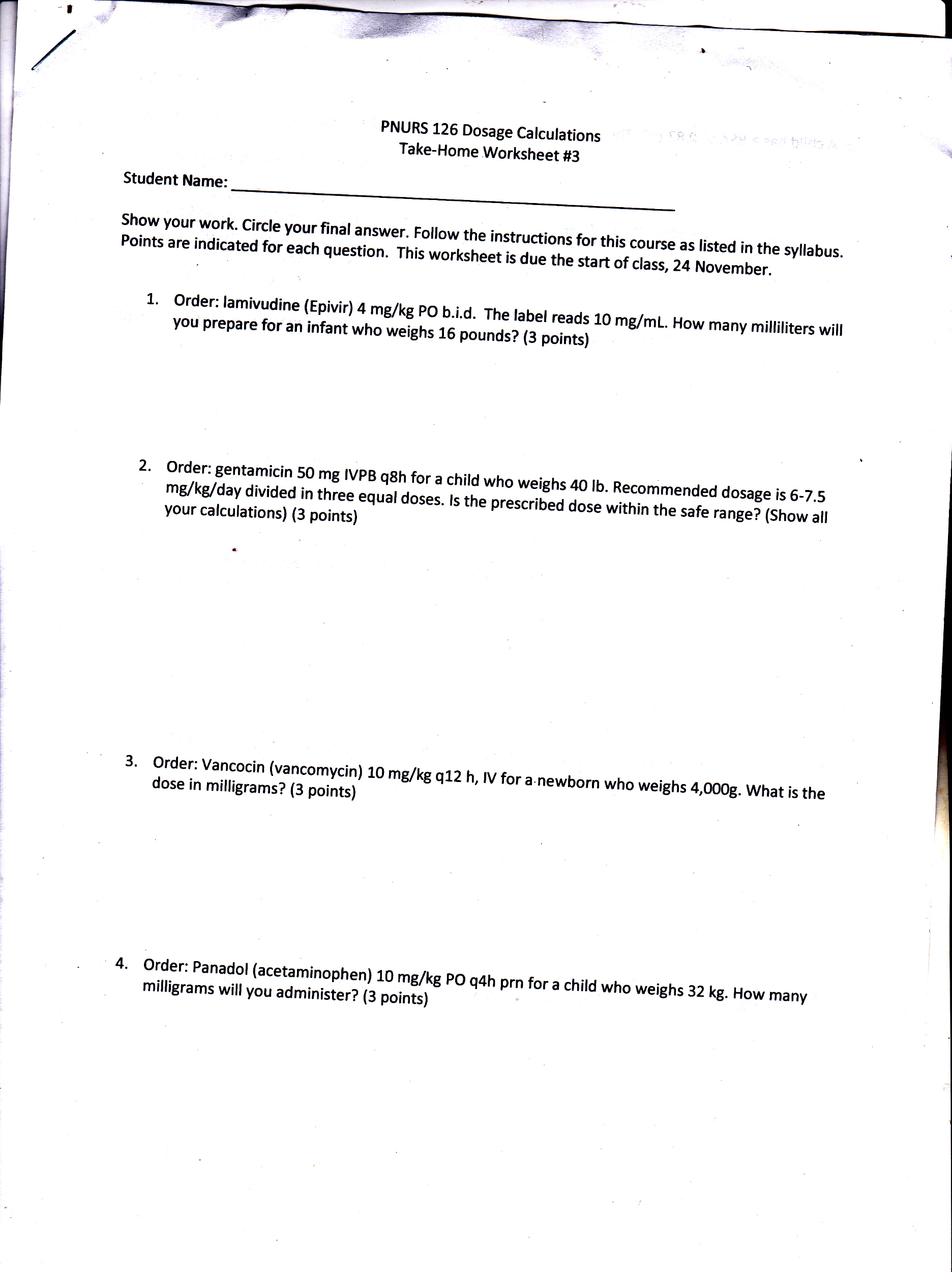 Solved Can Someone Help With Nursing Dosage Calculations