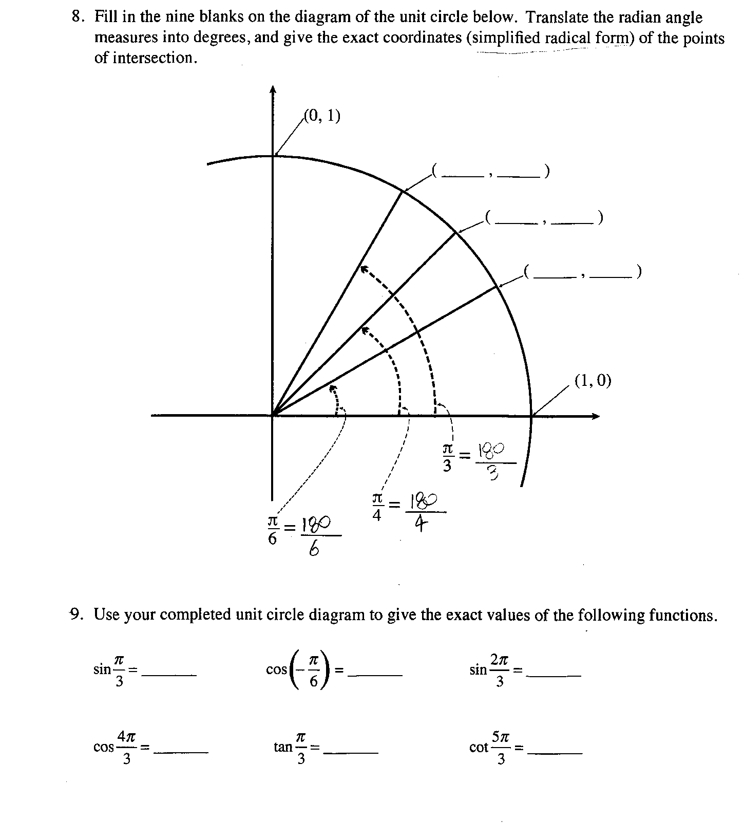 degree circle diagram 1997 ford expedition car radio wiring solved 8 fill in the nine blanks on of u