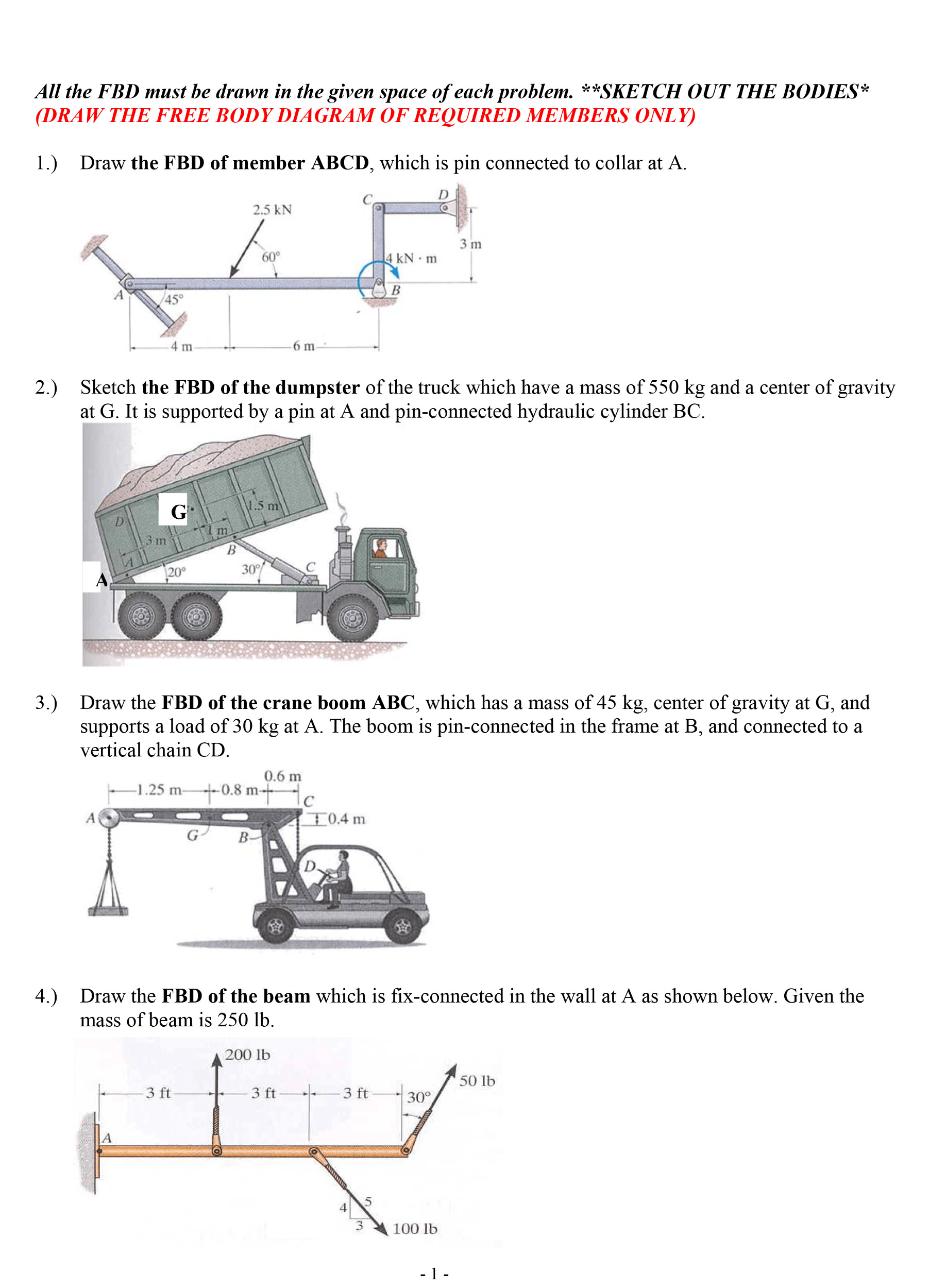 draw a diagram math problems standard cat5 wiring solved the free body diagrams for following prob