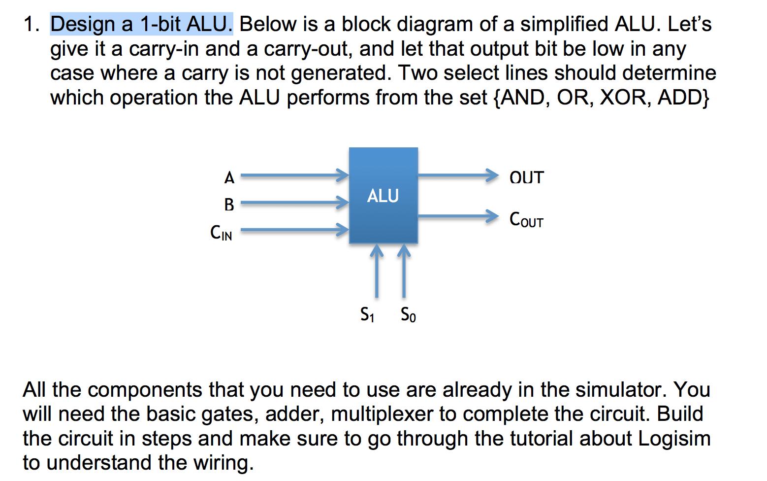 how to simplify block diagrams john deere 4240 wiring diagram solved 1 design a bit alu below is of