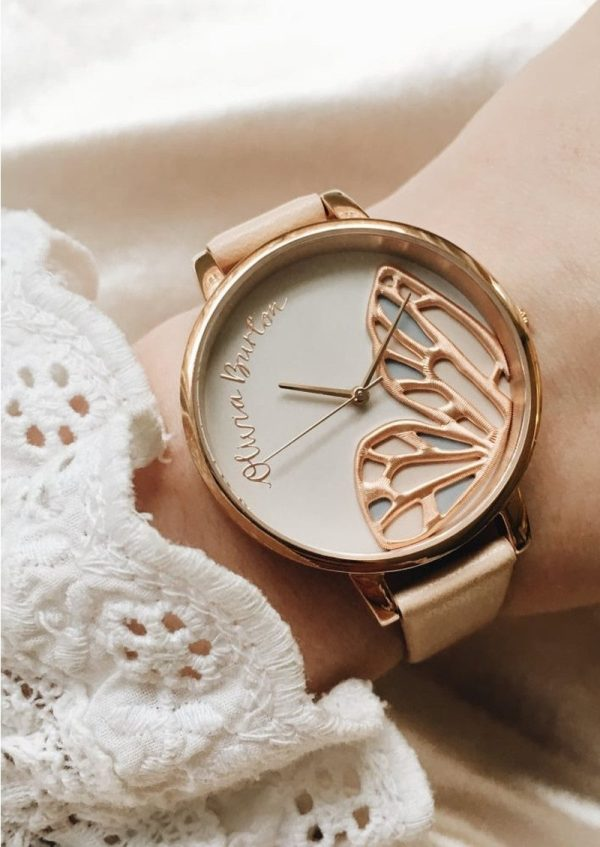 Olivia Burton Embroidered Butterfly Watch - Nude Peach