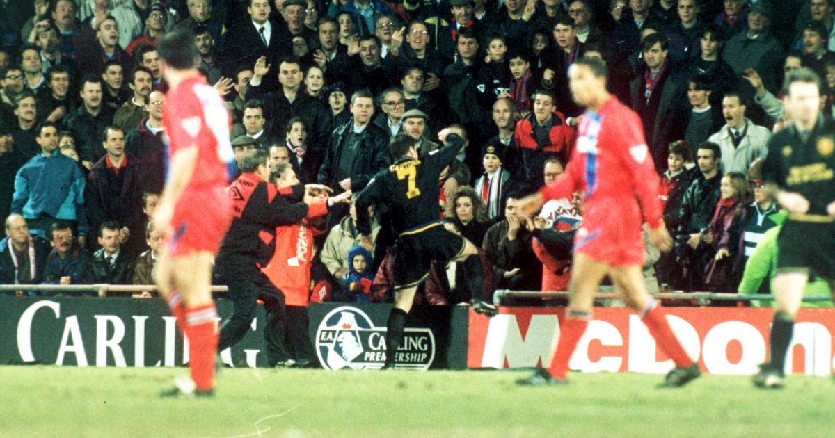 Eric cantona of manchester united is led off the. Kung Fu Cantona One Of Seven Footballers Who Battled Back Against The Crowd