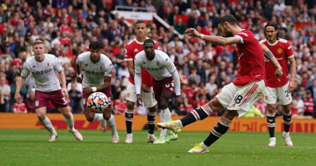 Bruno Fernandes of Manchester United misses a penalty against Aston Villa.