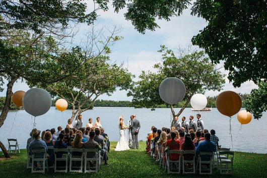 Geronimo balloons lent a fun, whimsical feel to the ceremony's decor