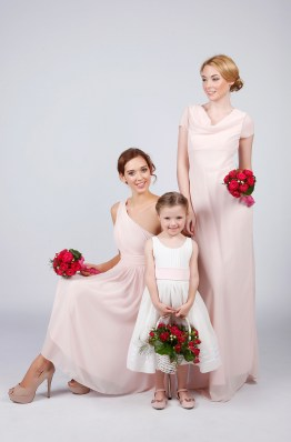 Matchimony can produce designs for flowergirl and bridesmaids in an array of colours