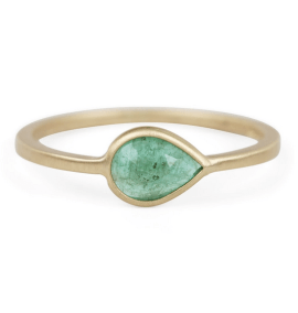 Pear ring with emerald by Conroy & Wilcox, US$1,570, from Catbird