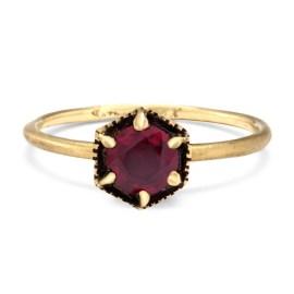 Hexagon ruby ring, US$3,145, from Satomi Kawakita