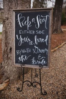 Welcome your guests to your relaxed reception with a handlettered chalkboard. Photo: JoPhoto