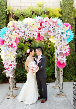 Colourful balloons and bright pinwheels make up a beautiful UP-themed backdrop. Photo: Adrienne Gunde
