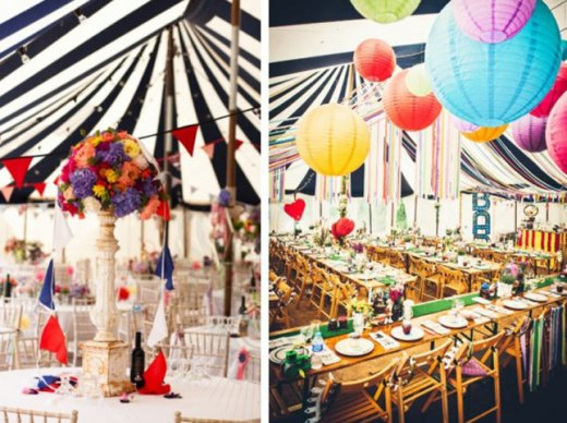 Striped marquee tents and bright colours bring out the circus feel. Photo: Ashley Events