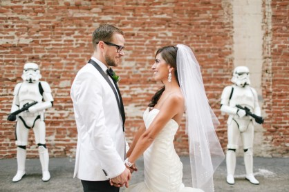 Get the best men to dress as Stormtroopers and escort you to your reception. Photo: Caca Santoro Photography