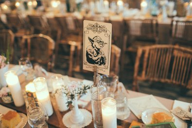 Label tables with famous characters from the epic series. Photo: Chantal Andrea Photography