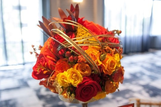 Fiery table centerpieces evoke the drama of the series and Katniss's spirit. Photo: David Lilly