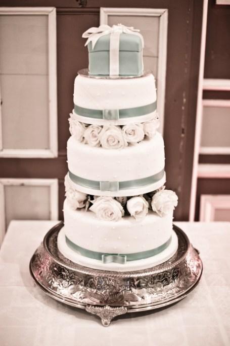 A classy, tiered Breakfast at Tiffany's inspired cake. Photo: Keoma Zec