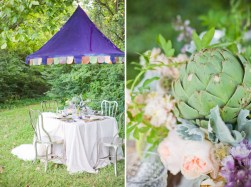 Gorgeous rustic blooms and quirky table set up for bride and groom. Photo: Tin Can Photography