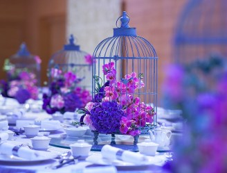 Purple Floral Arrangement in Grand Balroom