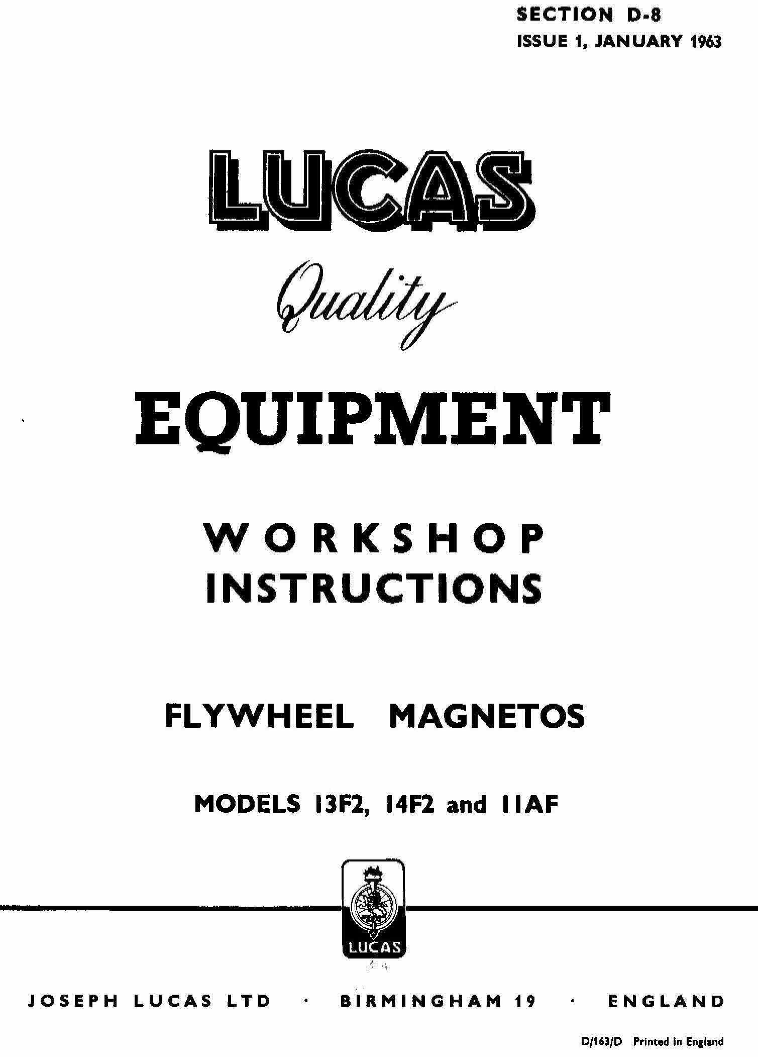 Lucas Electrical Motorcycle Workshop Instructions 1952