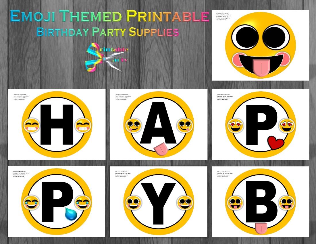 Emoji Printable Birthday Party Supplies Printable Party