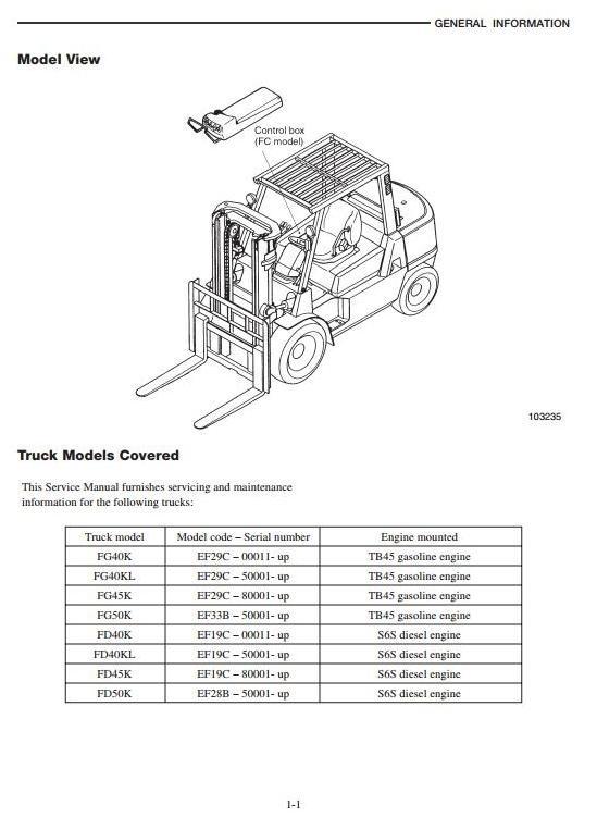 Mitsubishi Diesel Forklift Truck FD40K, FD45K, FD45KL,