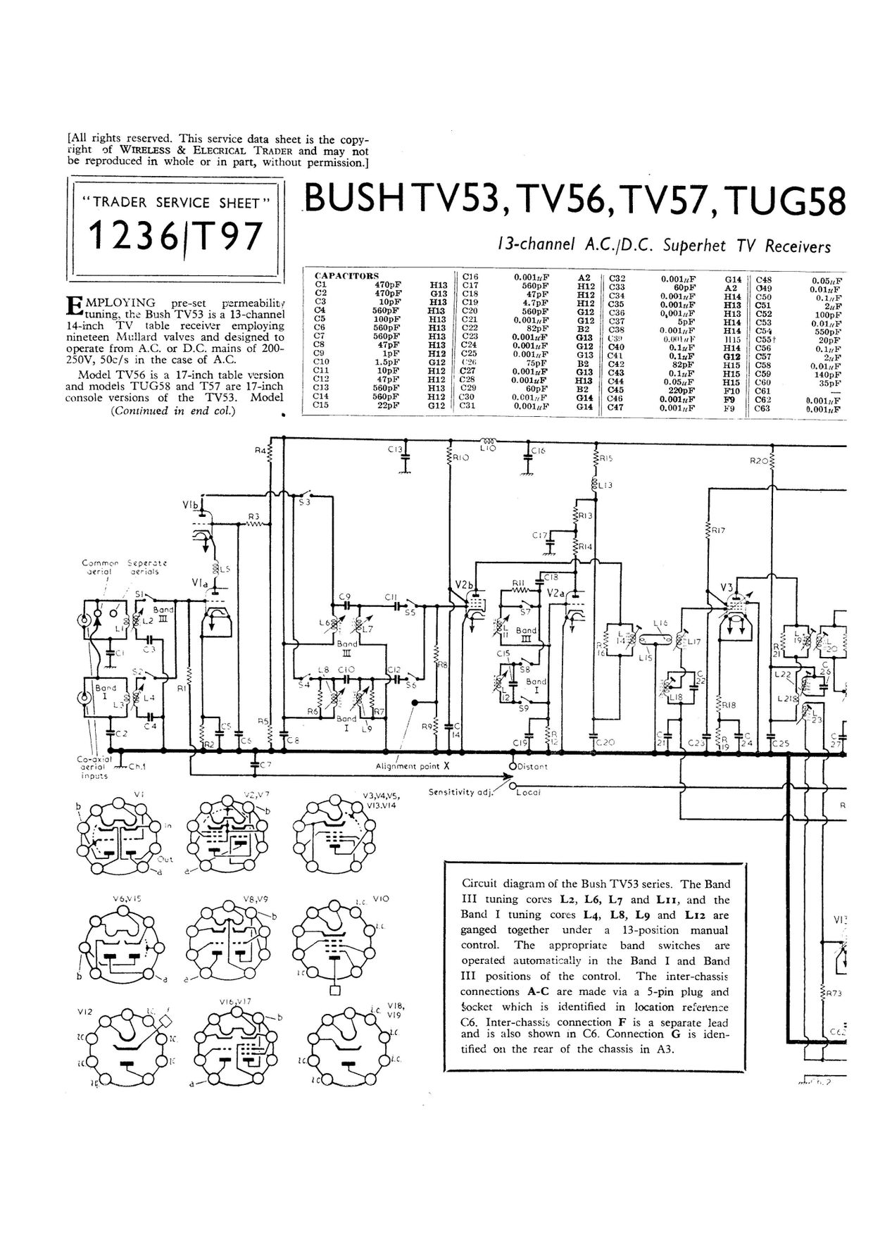 Bush TV62. TV53. TV56. T57. TUG58. TUG59. M59. TV57 Se