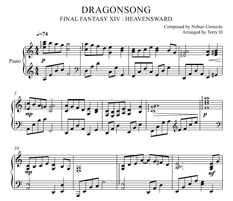 DragonsongEasy Key Arrby TerryD For Piano Solo F