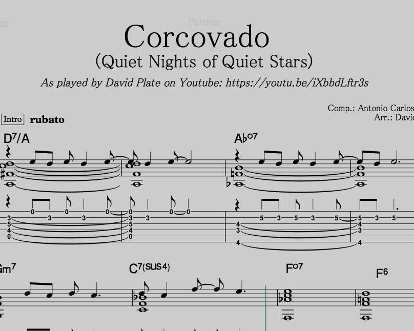 CORCOVADO (QUIET NIGHTS OF QUIET STARS) Guitar Arrange