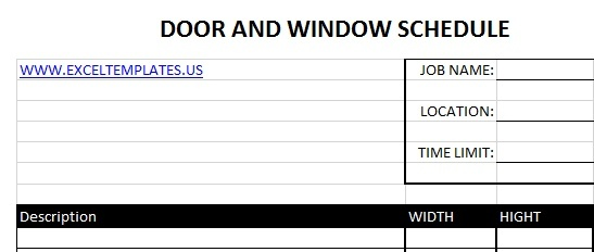 Door Schedule Excel & Daily Teacehr Schedule Template Free
