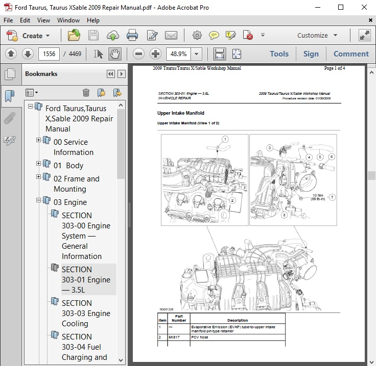 Ford Taurus,Taurus X,Sable 2009 Repair Manual