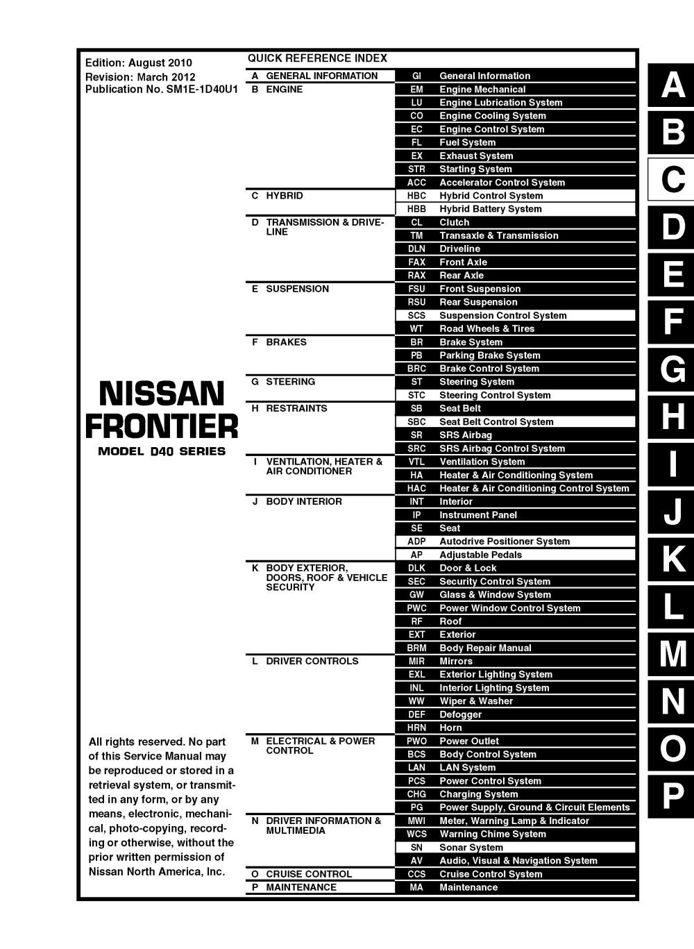 medium resolution of 2011 nissan frontier d40 oem service and repair manual pdf