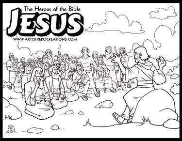 The Heroes of the Bible Coloring Pages: Jesus Sermon o