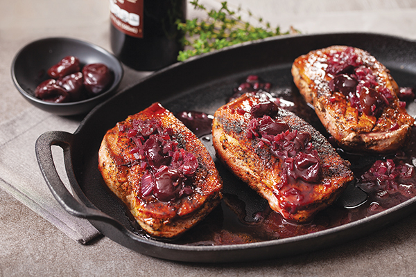 Mocha-Rubbed Duck Breast with Cherry and Red Wine Pan Sauce