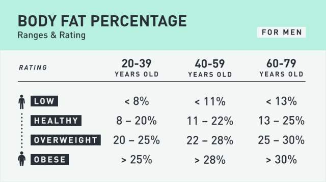 Table showing body fat percentages for men