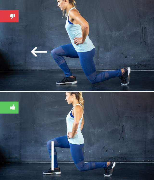 lunge mistake1 - Right & Wrong: Most Common Bodyweight Exercise Mistakes