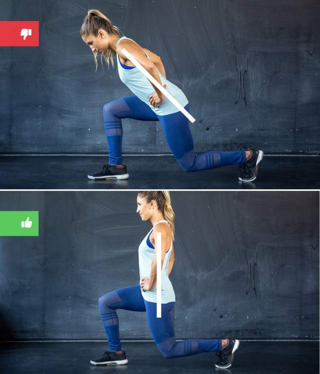 lunge mistake2 - Right & Wrong: Most Common Bodyweight Exercise Mistakes