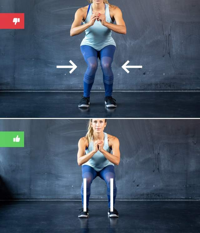 squat mistake1 - Right & Wrong: Most Common Bodyweight Exercise Mistakes