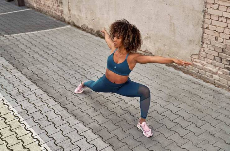 Woman stretching before working out